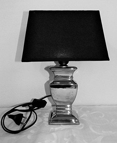 Ziegler Lampe Nachttischlampe Tischleuchte Silber schwarz Keramik Stoff 218345 F77