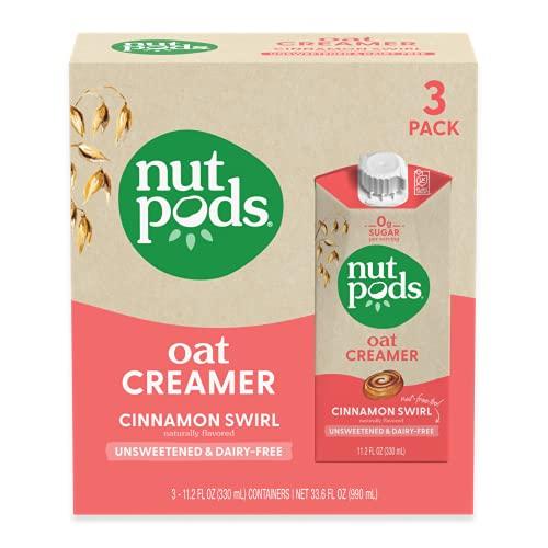 nutpods Oat Cinnamon Swirl, (3-Pack), Unsweetened Dairy-Free Creamer, Nut-Free Creamer, Made from Oats, Gluten Free, Non-GMO, Vegan, Kosher