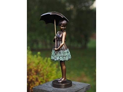 DerMöbler24 Bronzeskulptur Bronze Figur kleines Mädchen mit Regenschirm Nr. AN1279BR-V