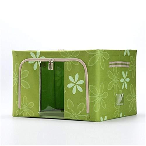 ETRZ Clothes storage box fabric folding double cover storage box green (50 * 40 * 22cm)
