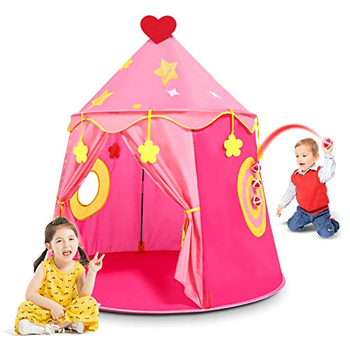 Peradix Kids Play Tent Toys, Princess Castle Tent Playhouse Gift for Baby Toddler Boys Girls, Pop Up Tent Indoor and Outdoor Use - Pink