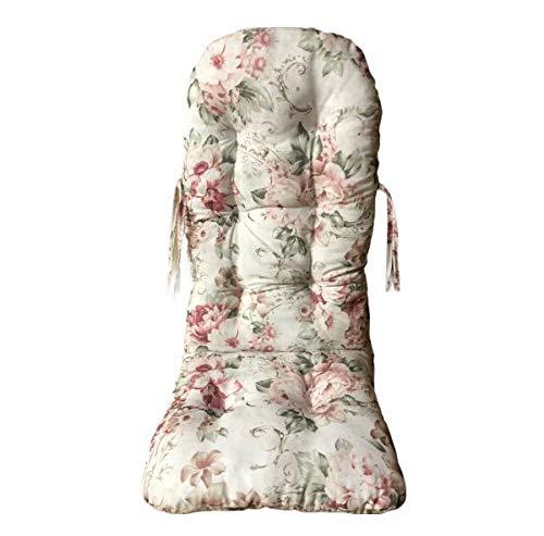 Rattan im Trend - Cuscino per sedia a dondolo in rattan, motivo floreale, verde, rosso, 120 x 50 cm, prodotto in Germania