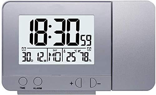 ZHHZ Projektionswecker Drehbare Digitale Projektionsuhr Multifunktionale LCD-Uhr Digitale Datumsschlummerfunktion Hintergrundbeleuchtung Drehbare Projektoruhr LCD-Uhr