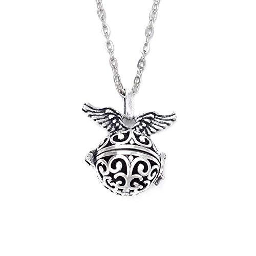 JULYSST Antike silberne Farbe Flügel ätherisches Öl Parfüm Diffusor Medaillons Halskette mit Kugel Lava Perlen Anhänger handgemachte Herstellung