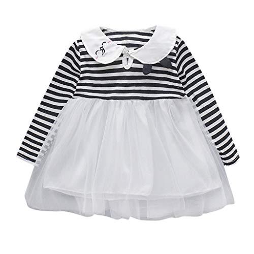 Moneycom❤Bébé Fille à Manches Longues de Dessin animé Lapin rayé vêtements de Princesse Robe de Tulle Anniversaire Le Mariage et Les Parties Noir(18-24 Mois)