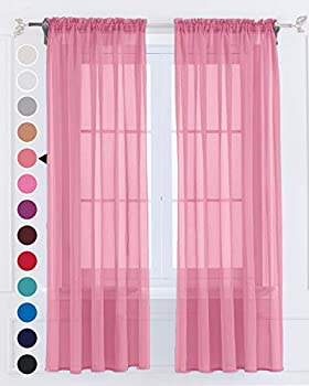 Semi Coral Pink Sheer Curtains 63 inches Long 2 Panels Set for Living Room Privacy Window Drapes Solid Tulle Voile Light Filtering Rod Pocket Yard Patio Villa Parlor Kitchen(Coral Pink,W52 X L63)