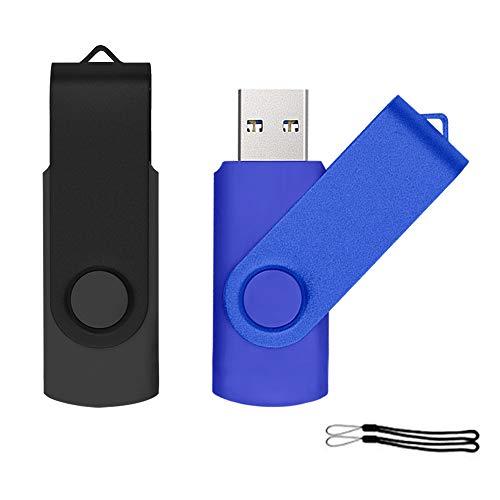 2 Pezzi Chiavetta USB 32 GB Memoria USB 2.0 Flash Drive Uflatek Girevole Design PenDrive Nero Blu Pennetta USB Archiviazione Dati per Computer Tablet e PC