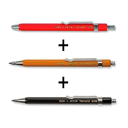 Set de 3 con pequeños lápices mecánicos prácticos en el gran colores: rojo, amazillo, negro Longitud del lápiz: 11,5 cm El botón pulsador de los pasadores contiene un sacapuntas: simplemente desatornílelo en sentido contrario a las agujas del reloj! ...