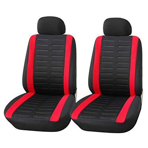 Upgrade4cars Auto-Sitzbezüge Vordersitze Schwarz Rot | Auto-Sitzschoner Set Universal für Fahrersitz & Beifahrer mit Seitenairbag Öffnung | Auto-Zubehör Innenraum