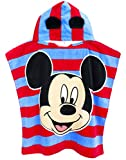 Disney Mickey Mouse 3D Ears Poncho Towel for Kids | OneSize Hooded Bath Towelling Robe for Girls and Boys | Beach Swim Cover Up for Children and Toddlers Blue