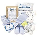 MabyBox Happy Animals | Canastilla Bebé | Set regalo recién nacido| Cesta de bebe Para regalo | Regalo Personalizado Bebe (Azul)