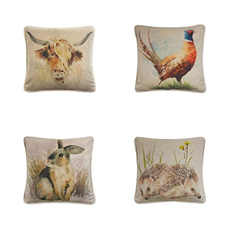 4 x Made UK Artistic Country Highland Cow Pheasant Hare Hedgehog Cotton Linen Look Cushion Covers
