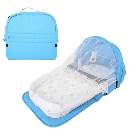 Bolsa de pañales para cama de bebé, cambiador de cuna de viaje plegable para bebé cama portátil para tumbona con red para bebés y niñas(Azul)
