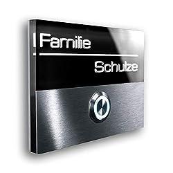 Türklingel aus Edelstahl - inklusive 3D-Gravur und LED beleuchtetem Namensschild - Unterputz-Montage