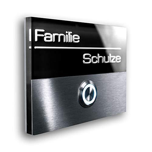 Metzler Türklingel aus Edelstahl - inklusive 3D-Gravur und LED beleuchtetem Namensschild - Unterputz-Montage