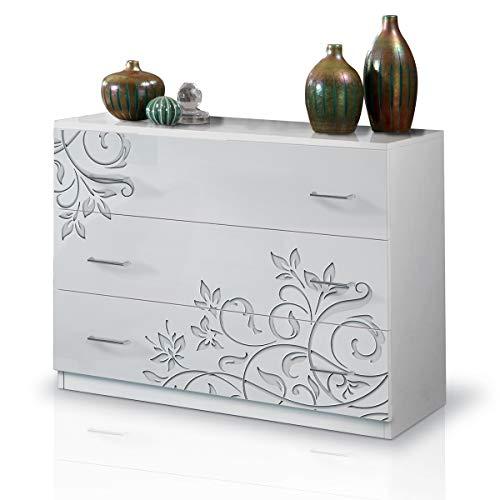 MF Comò Cassettiera 3 Cassetti Laccato Lucido, 100 x 77 x 44 cm (Bianco Serigrafato)
