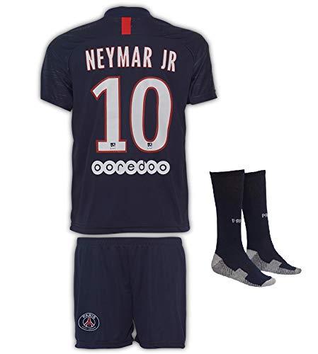 JTex PSG 2019-20 Mbappe-Neymar - Maglia a maniche lunghe da trasferta per bambini, con pantaloncini e calze, taglie 2-14, 140 (6-7 Alter)