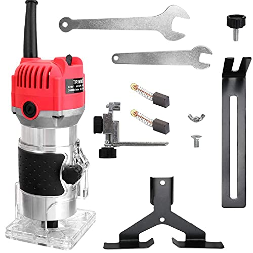800W 220V Compact Electric Hand Wood Trimmer, Portable Woodworking Router...