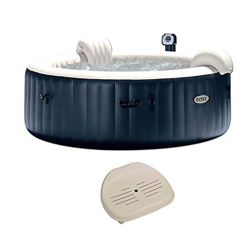 Intex 28409E PureSpa 6 Person Home Outdoor Inflatable Portable Heated Round Hot Tub Spa 85-inch x 28-inch with 170 Bubble Jets, Built in Heat Pump, and Non-Slip Seat Insert (2 Pack)