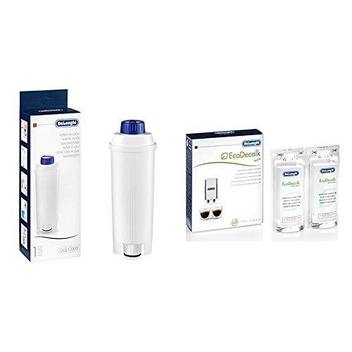 De'Longhi DLSC002 Filtro agua antical, para cafeteras superautomáticas, original + Ecodecalk Mini Descalcificador universal, cafeteras superautomáticas, pack x2, 100 ml, componentes naturales