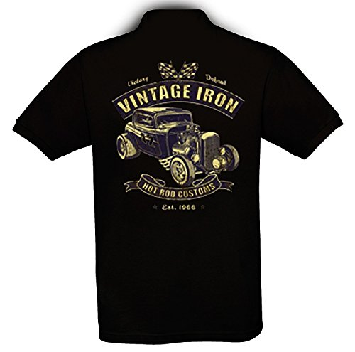 Ethno Designs - Vintage Iron - Hot Rod Polo Shirt Old School Rockabilly Retro Style pour Hommes regular fit, noir, taille XXL