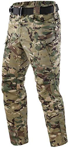 FENG Herren Military Tactical Pants Leichte Rip-Stop Cargohose Wasserfeste Hose Tactical Work Pants mit Multi Pocket (CP Camo,XXL)