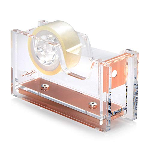 """Zodaca Acrylic & Rose Gold Tape Dispenser, Deluxe Clear Office Desktop Tape Dispenser with One Tape [Medium Size] for Tape Below 3/4"""""""