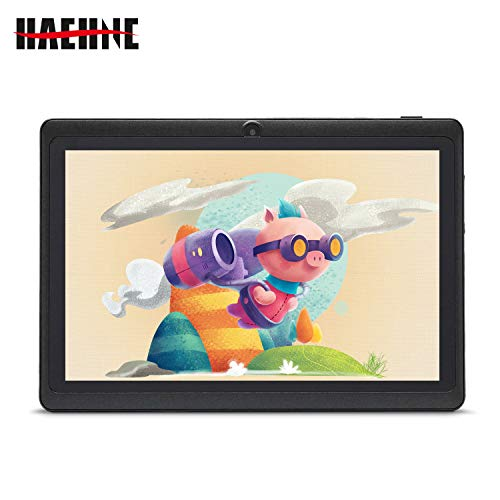 Haehne Tablet PC 7 Zoll Android Tablet mit HD Displays, Google Android 9.0 System, Zwei Kameras, Quad Core 1GB RAM 16GB ROM, GMS Zertifiziertes, Schwarz