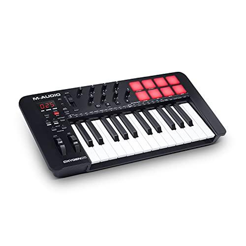 M-Audio Oxygen 25 V - Teclado controlador MIDI USB de 25 teclas con Beat Pads, modos Smart Chord y Scale, arpegiador y suite de software incluidos