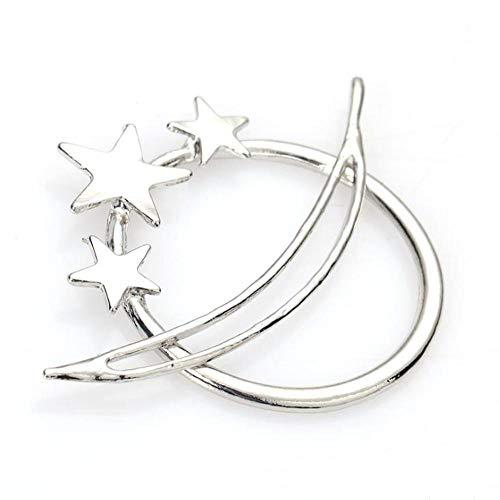 Lot de 2 pinces à cheveux en métal géométrique en forme d'étoile à boucle simple pour mariage et toute occasion spéciale.
