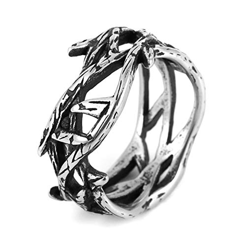 HZMAN Men's Women's Branch Shape Fashion Look Stainless Steel Lucky Ring (Silver, 11)