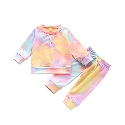 Hongyuangl Säugling Baby Mädchen Kleidung Set Krawatte Dye Langarm T-Shirt Tops Sweatsuit Hose Herbst Winter Sweatshirt