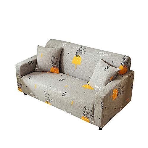 Funda para sofá con diseño moderno de 1/2/3/4 plazas, antideslizante, funda elástica para sofá y protector para mascotas, lona, zorro, 2-Seater Sofa Length 55-67In + 1pcs Free Pillowcas