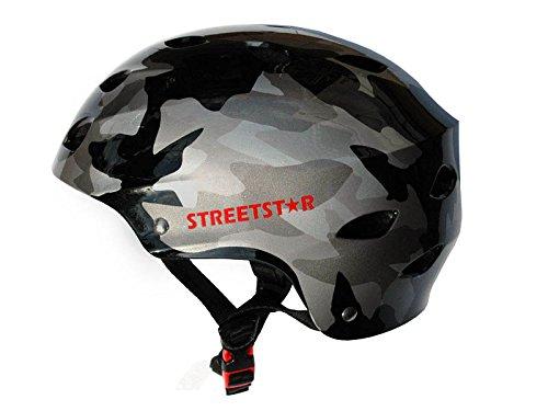 Streetstar Helm Schwarz Camouflage Größe S | Skaterhelm, Fahrradhelm, Schutzhelm | für Skatboarding, BMX, Inline-Skate, Stuntscooter | Für Damen & Herren Unisex