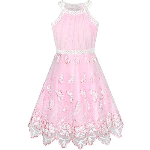 Sunboree Mädchen Kleid Rosa Schmetterling Bestickte Halfter Kleiden Einschulung Schulanfang Osterfest Kleid Gr. 122