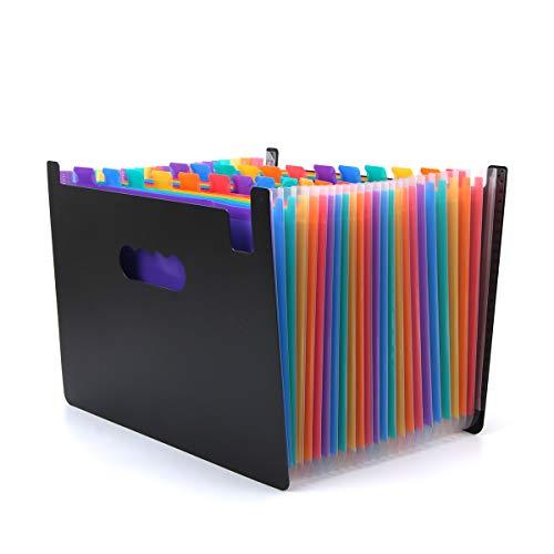 Carpeta de bolsillo de archivo expandible gruesa (25 bolsillos) Archivo de acordeón A-Z de color arco iris Caja de documentos Etiquetas gratuitas Tamaño A4 / Carta Alta capacidad Hasta 3000 hojas