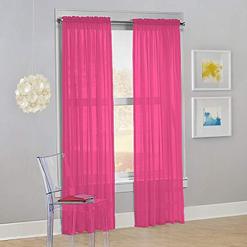 Decotex Set of 2 Sheer Voile Transparent Window Panel Curtain Drapes (54' W X 84' L, Hot Pink)