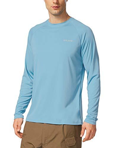 BALEAF Men's UPF 50+ Outdoor Running Long Sleeve T-Shirt Light Blue Size L