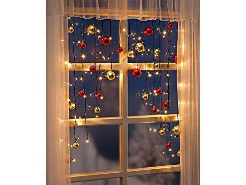 Lichtervorhang Kugeln Fensterdeko Weihnachtsbeleuchtung Fenster Lichterkette Batteriebetrieb Batterie