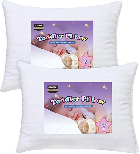 Utopia Bedding 2 Pack Toddler Pillow - Baby Pillows for Sleeping - Cotton Blend Cover - Pack of 2 Kids...