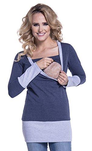 Happy Mama. Damen Sweatshirt Stillzeit Top Zweilagiges. Kontrastdetails. 457p (Jeans Melange, EU 34, S)