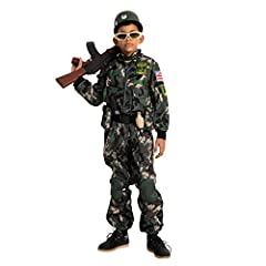 Our Boys Military Soldier Army Costume Set includes a Foam Vest, Jumpsuit w/ Knee Pad, Belt w/ Pouches, Helmet, Name Tag, Glasses, Walkie-Talkie, other two toy accessories and a Bandanna. Military Outfit for Boys. Let your little heroes wear this ado...