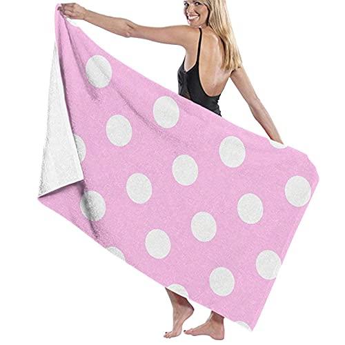 IUBBKI Toalla de baño de microfibra con estampado de lunares rosados, súper suave, absorción de agua, unisex, para el hogar, baño, viajes, gimnasio y piscina