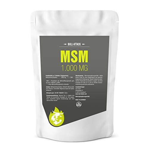 MSM Tabletten von Bull Attack - 500 vegane MSM Tabletten á 1000mg - Hochdosiert für Haut, Haare, Nägel, Gelenke & bei Gelenkproblemen