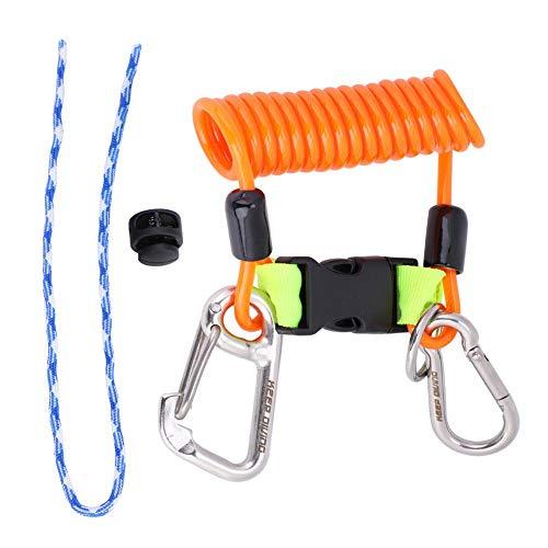 Keenso Cuerda Elástico para Buceo, Conjunto Estirado, Enganche Metálico y Mosquetón(Naranja)