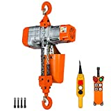 1 Ton Electric Chain Hoist with Wireless Remote Control System Single Phase 2000Lbs Load Capacity 20ft Lift Height Hook Mount Chain Hoist G80 Electric Hoist Double Chain