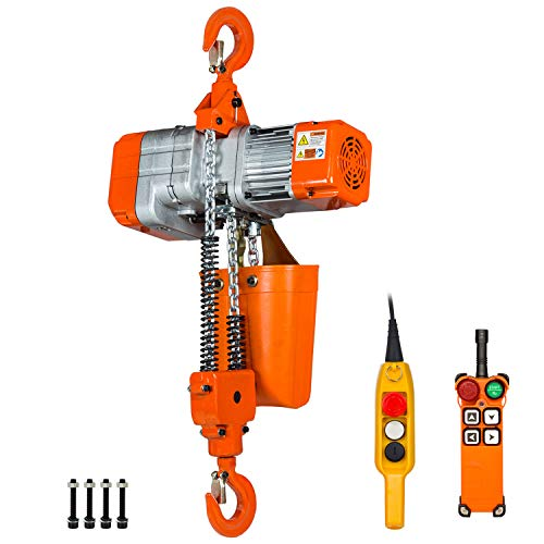 Prowinch 1 Ton Electric Chain Hoist with Wireless Remote Control System Single Phase 2000Lbs Load Capacity 20ft Lift Height Hook Mount Chain Hoist G80 Electric Hoist Double Chain