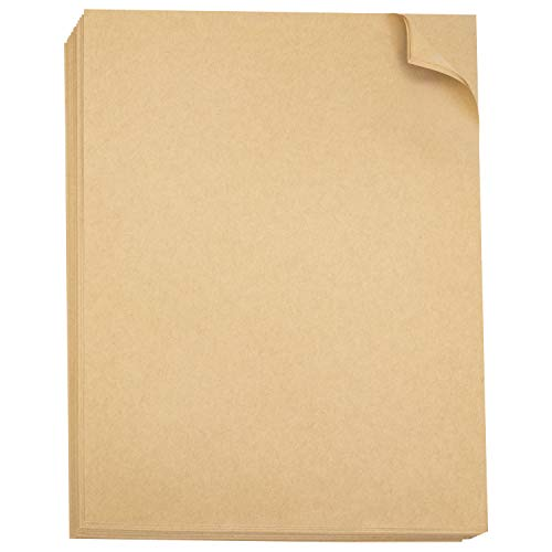 """Brown Kraft Paper 8.5"""" x 11"""" Letter Size Stationary Paper 96 Pack Printer Friendly Arts Crafts Office Invitations Biodegradable Rustic Recycled Tan"""