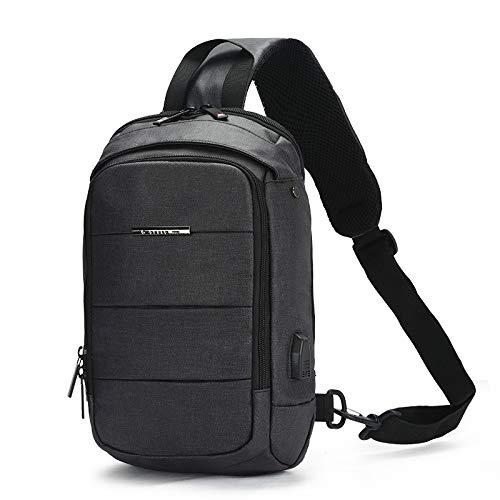 CMZ Rucksack Herren Brusttasche USB einfache wasserdichte Umhängetasche Herren Umhängetasche Trendige Mode Outdoor Sport Brusttasche