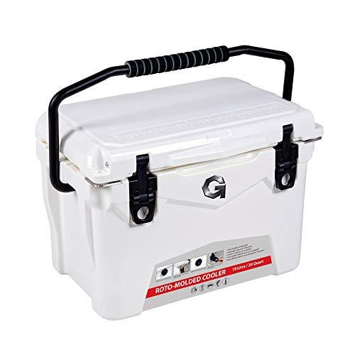 G Kühlbox Wasserdicht Kühler Eisbox Campingbox Kühlschrank Eistruhe Cooler 19L Isolierte Kühlbox Gefrierbox Eiskühler 20QT für Camping Angeln Urlaub Freizeit und Beruf(Weiß)